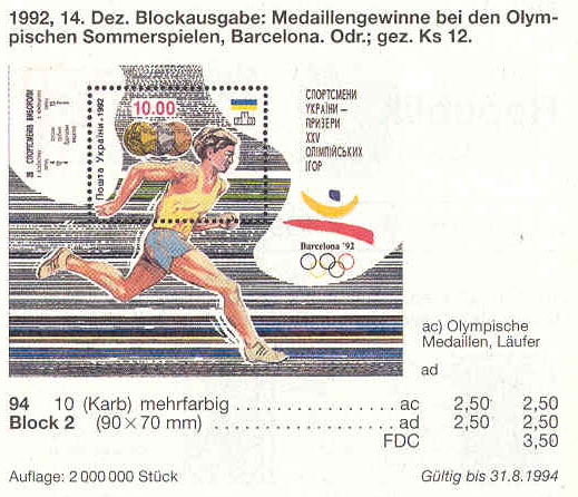 Michel 94 (block2) Ukraine Souvenir sheet Ukrainian Medal Winners.Barselona Sport