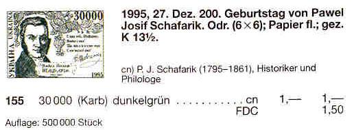 N155 каталог 1995 марка Павел Шафарик историк