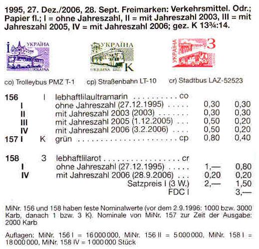 N156 каталог 1995 марка 4-й Стандарт ЛИТЕРА I троллейбус транспорт