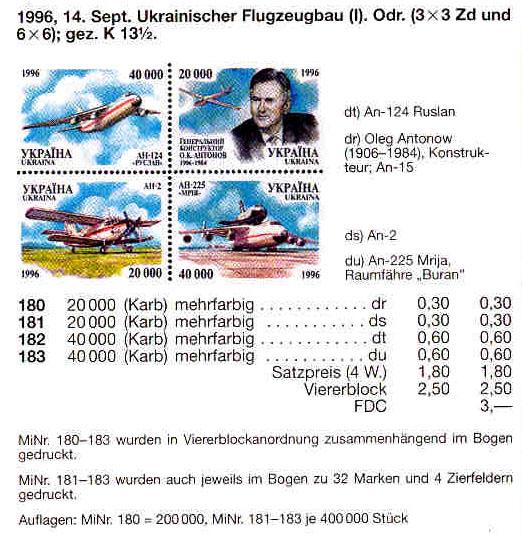 N180-183 Zd каталог 1996 квартблок Самолеты Антонова