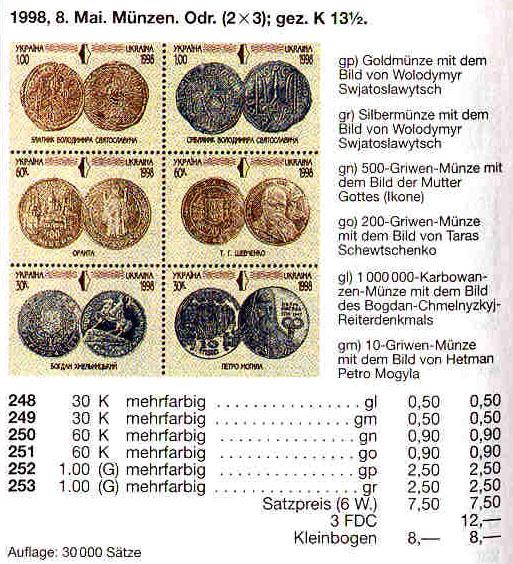N248-253 каталог 1998 N188-193 (m3) блок Сборы ЕБРР Монеты