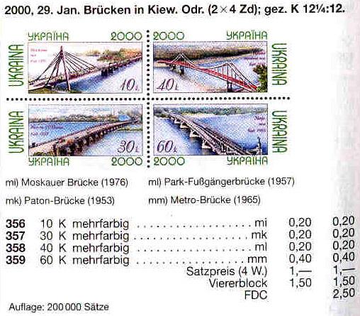 N356-359 каталог 2000 лист Мосты