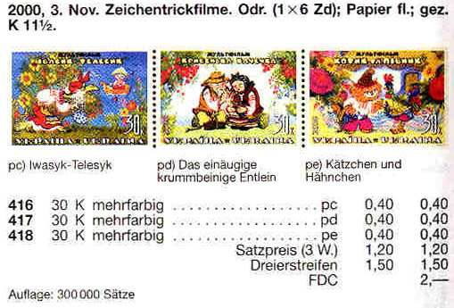 N416-418 каталог 2000 верх листа Мультфильмы Сказки