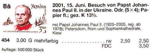 N454 каталог 2001 лист Папа Римский Иоанн Павел II