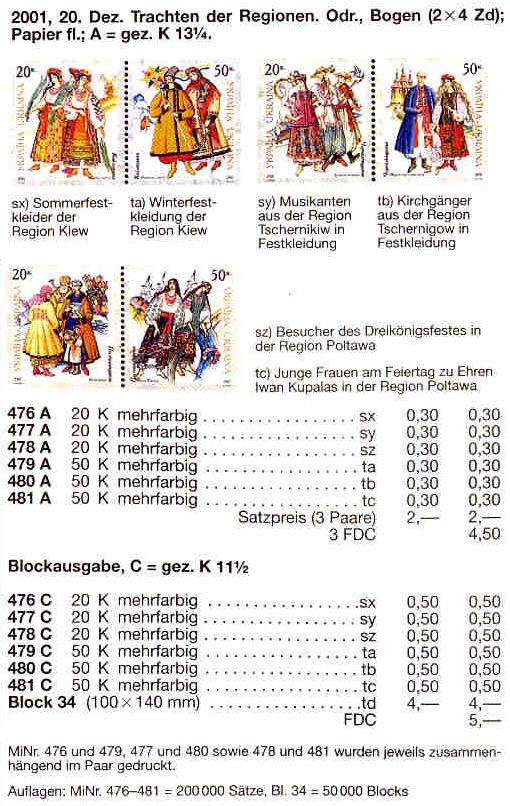 N476A-481A каталог 2001 листы Народная одежда КОМПЛЕКТ