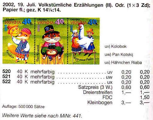 N520-522 каталог 2002 часть листа Сказки НИЗ С НАДПИСЬЮ