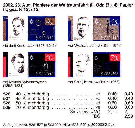 N526-529 Klb каталог 2002 листы Космос КОМПЛЕКТ
