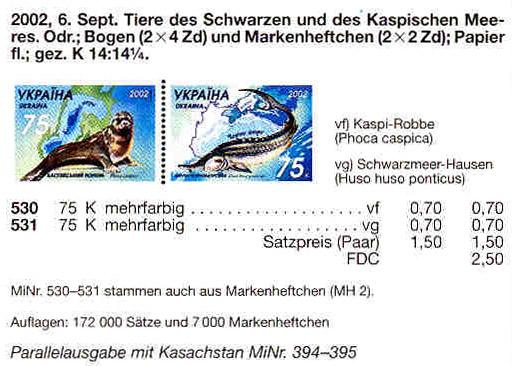 N530-531 Klb каталог 2002 лист Фауна Укр-Казахстан (тюлень-белуга)