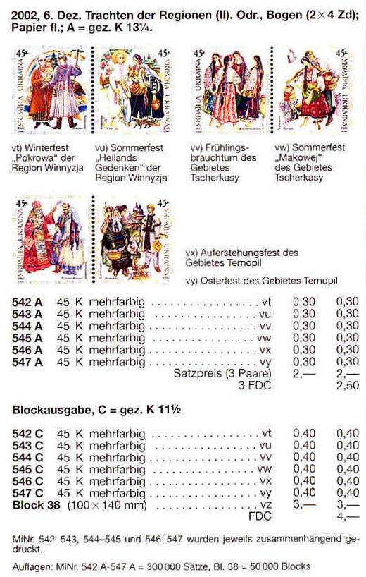 N542C-547C (block38) каталог 2002 N482А-487А (b35) блок Народная одежда