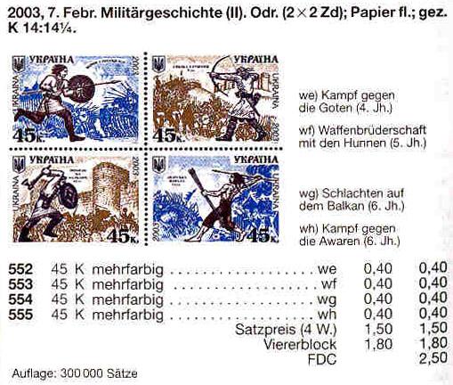 N552-555 каталог 2003 лист История войска