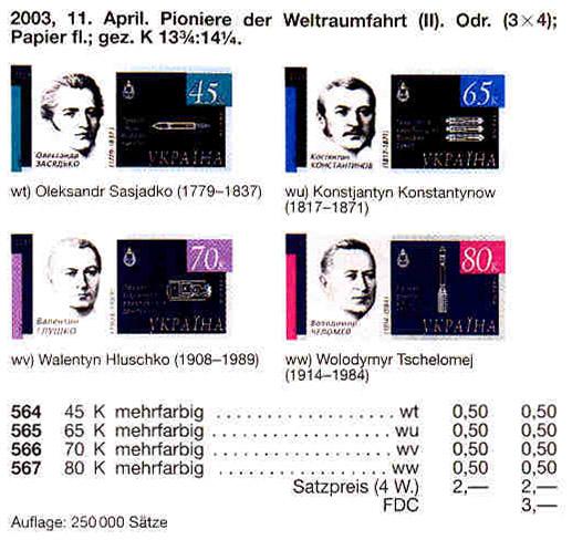 N566 каталог 2003 марка Космос Валентин Глушко