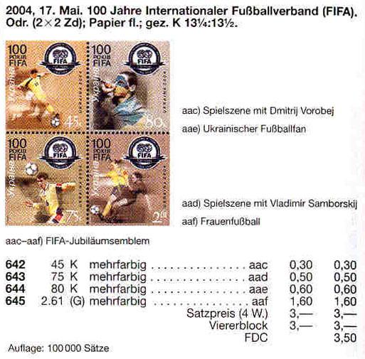 N642-645 Zd каталог 2004 N584-587 сцепка Спорт ФИФА