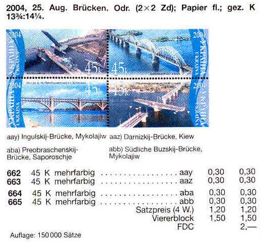N662-665 каталог 2004 лист Мосты