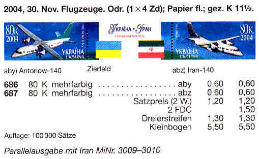 Michel 686-687 Klb Ukraine Minisheet Airplanes -Ukraine & Iran Joint Issue