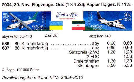 N686-687 Zf каталог 2004 N626-627 сцепка Самолеты Украина-Иран