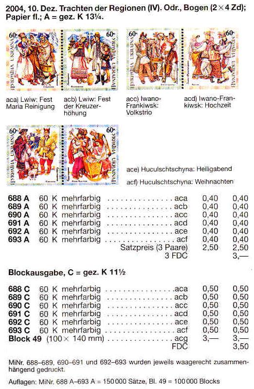 N688C-693C (block49) каталог 2004 N628А-633А (b47) блок Народная одежда