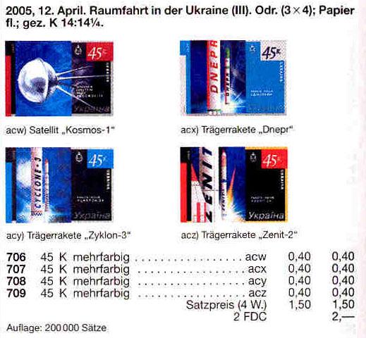 N706-709 Klb каталог 2005 листы Космос КОМПЛЕКТ