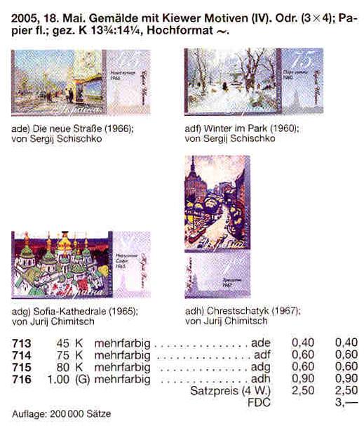 N713-716 каталог 2005 листы Живопись КОМПЛЕКТ
