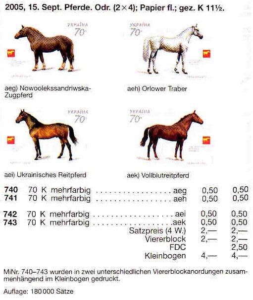 N740-743 каталог 2005 часть листа Кони Фауна НИЗ