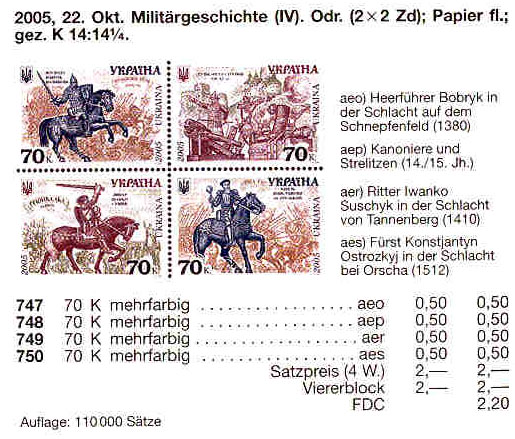 N747-750 каталог 2005 лист История войска