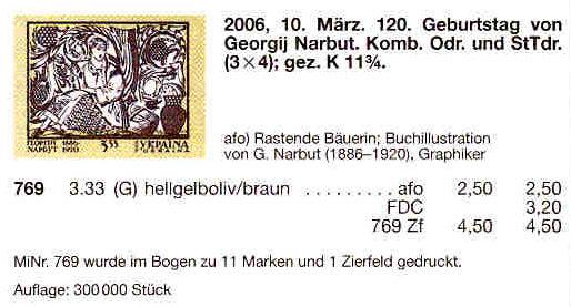 N769 Klb каталог 2006 часть листа Нарбут ВЕРХ С КУПОНОМ