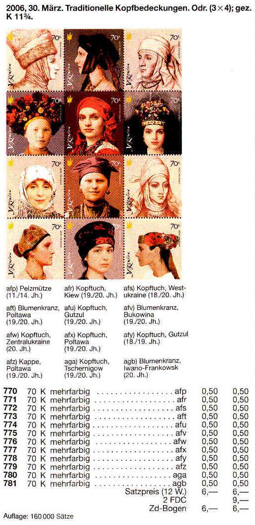 N770-781 каталог 2006 N710-721 лист Головные уборы