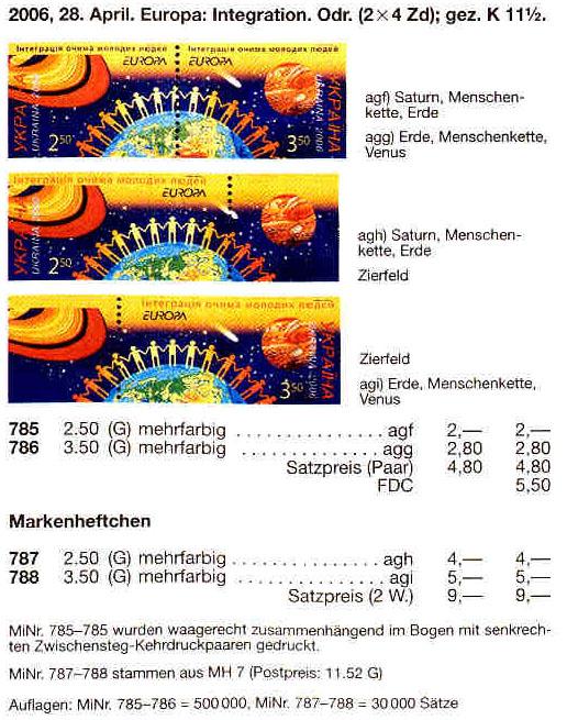 N785-786 Klb каталог 2006 лист Интеграция глазами молодых Европа CEPT