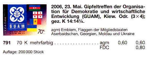 N791 каталог 2006 марка ГУАМ