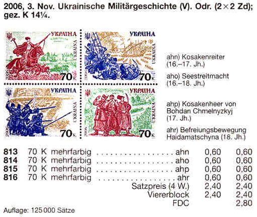 N813-816 каталог 2006 лист История войска