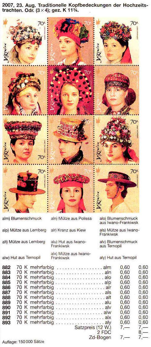 N882-893 каталог 2007 лист Головные уборы