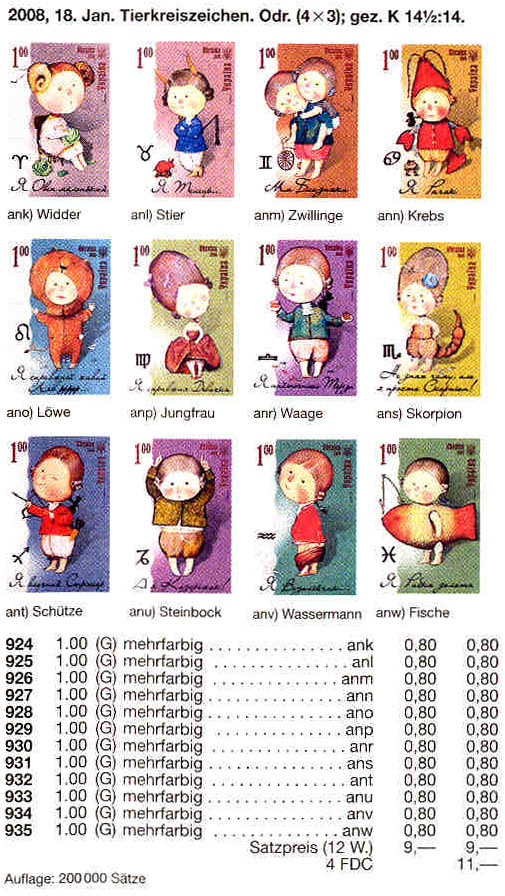 N каталог 2008 марка Зодиак телец