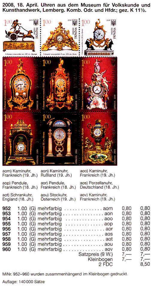 N952-960 каталог 2008 лист Часы