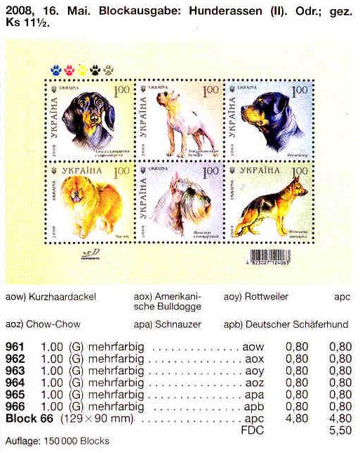 N961-966 (block66) каталог 2008 блок Собаки Фауна