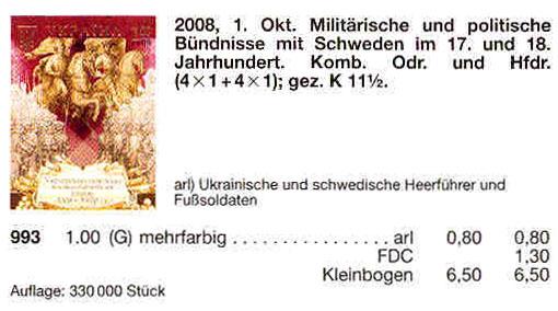 N993 Klb каталог 2008 лист Украинско-Шведские союзы