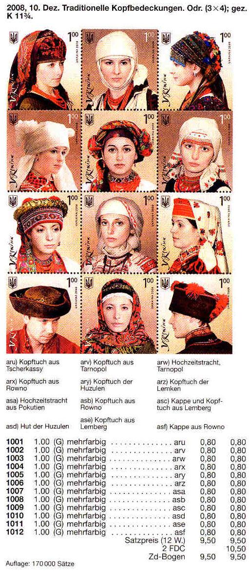 N1001-1012 каталог 2008 N959-970 лист Головные уборы