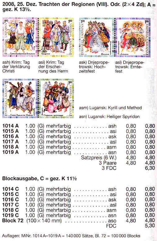 N1014A-1019A каталог 2008 листы Народная одежда КОМПЛЕКТ