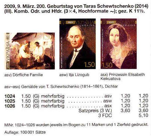 N1024-1026 каталог 2009 марки Живопись Шевченко СЕРИЯ