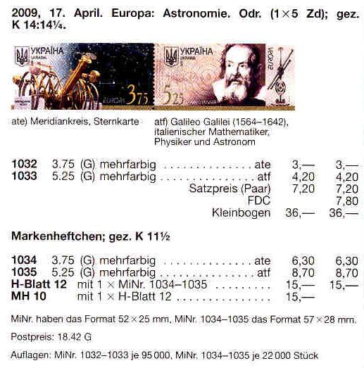 N1032-1033 Klb каталог 2009 лист Астрономия Галилео Галилей космос Европа CEPT