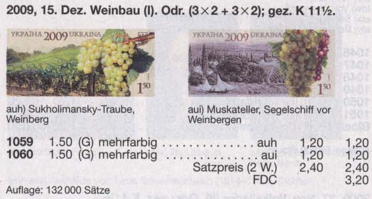 N1059-1060 каталог 2009 марки Виноградарство Виноделие СЕРИЯ