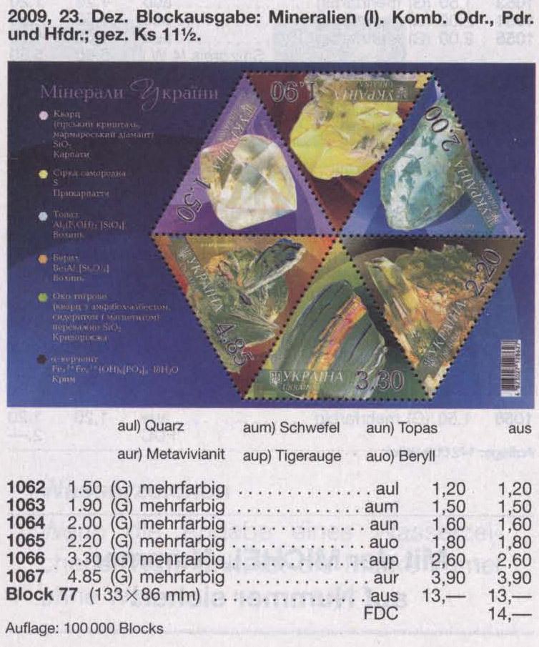 N1062-1067 (block77) каталог 2009 блок Минералы