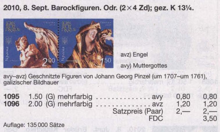 N1095-1096 Kbl каталог 2010 лист Скульптура Пинзель Ангел и Богоматерь