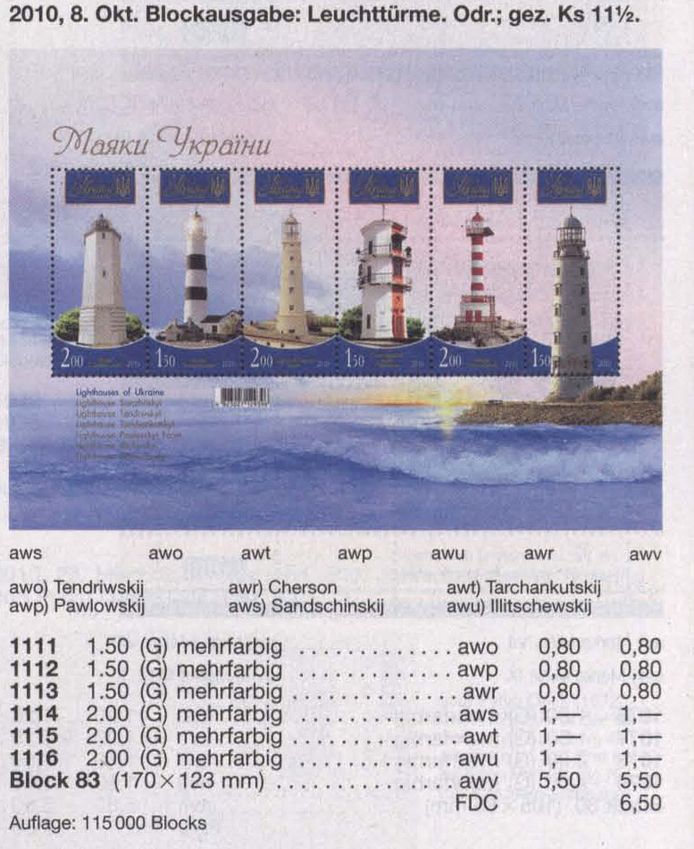 Michel 1111-1116 (block83) Ukraine Souvenir sheet Lighthouses