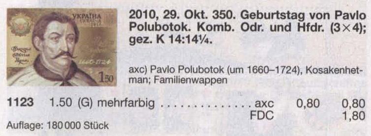 N1123 Kbl каталог 2010 лист гетман Полуботок