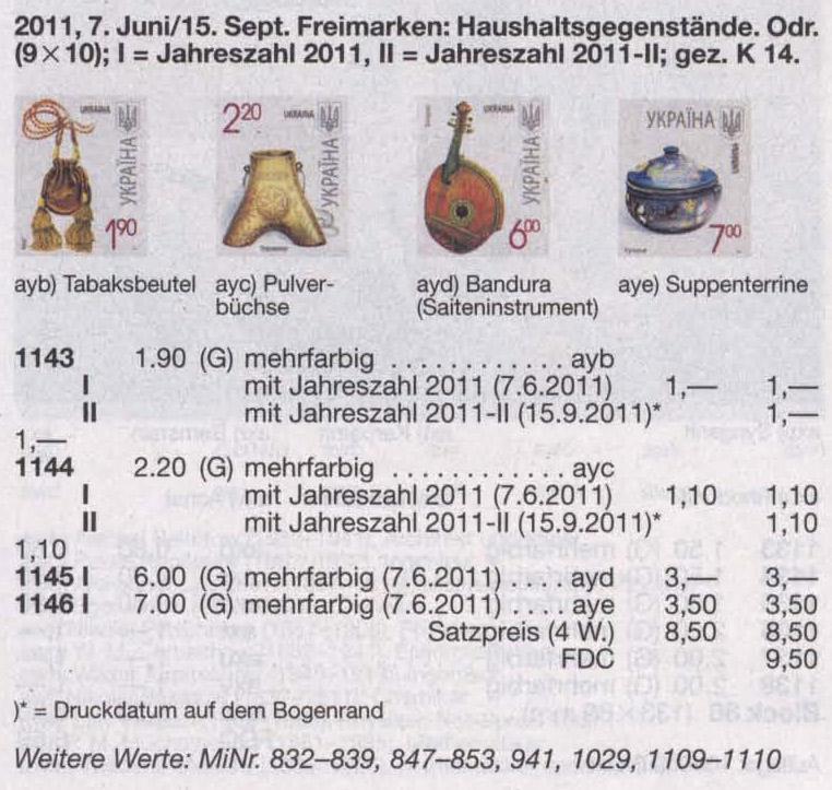 N1144 каталог 2011 марка 7-ой Стандарт 2-20 Пороховница