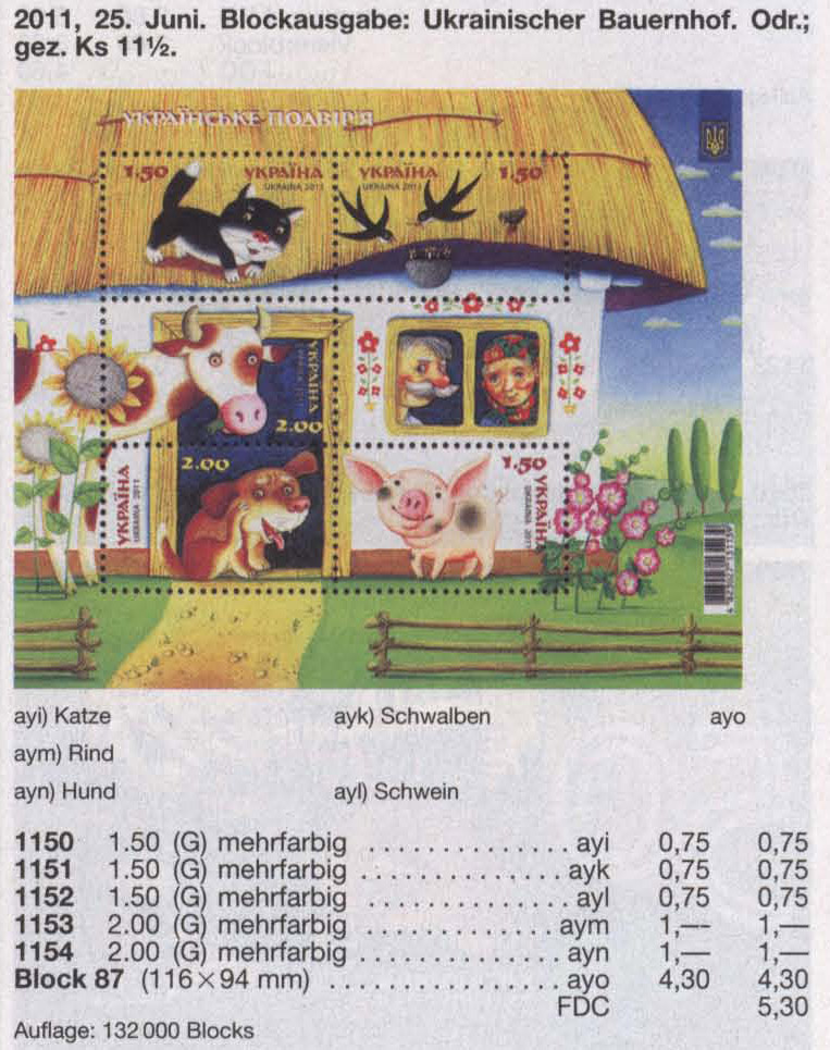 Michel 1150-1154 (block87) Ukraine Souvenir sheet Ukrainian Farmstead