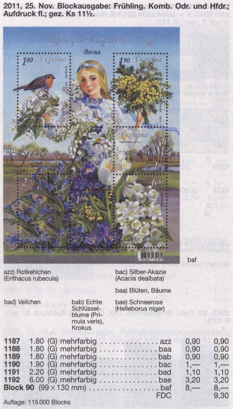 N1187-1192 (block90) каталог 2011 блок Щедрая Украина Весна Флора