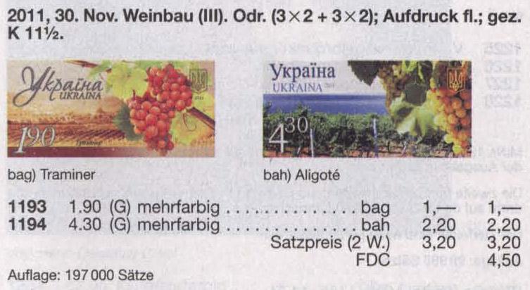 N1193 каталог 2011 N1151 марка Виноградарство Виноделие Траминер 190
