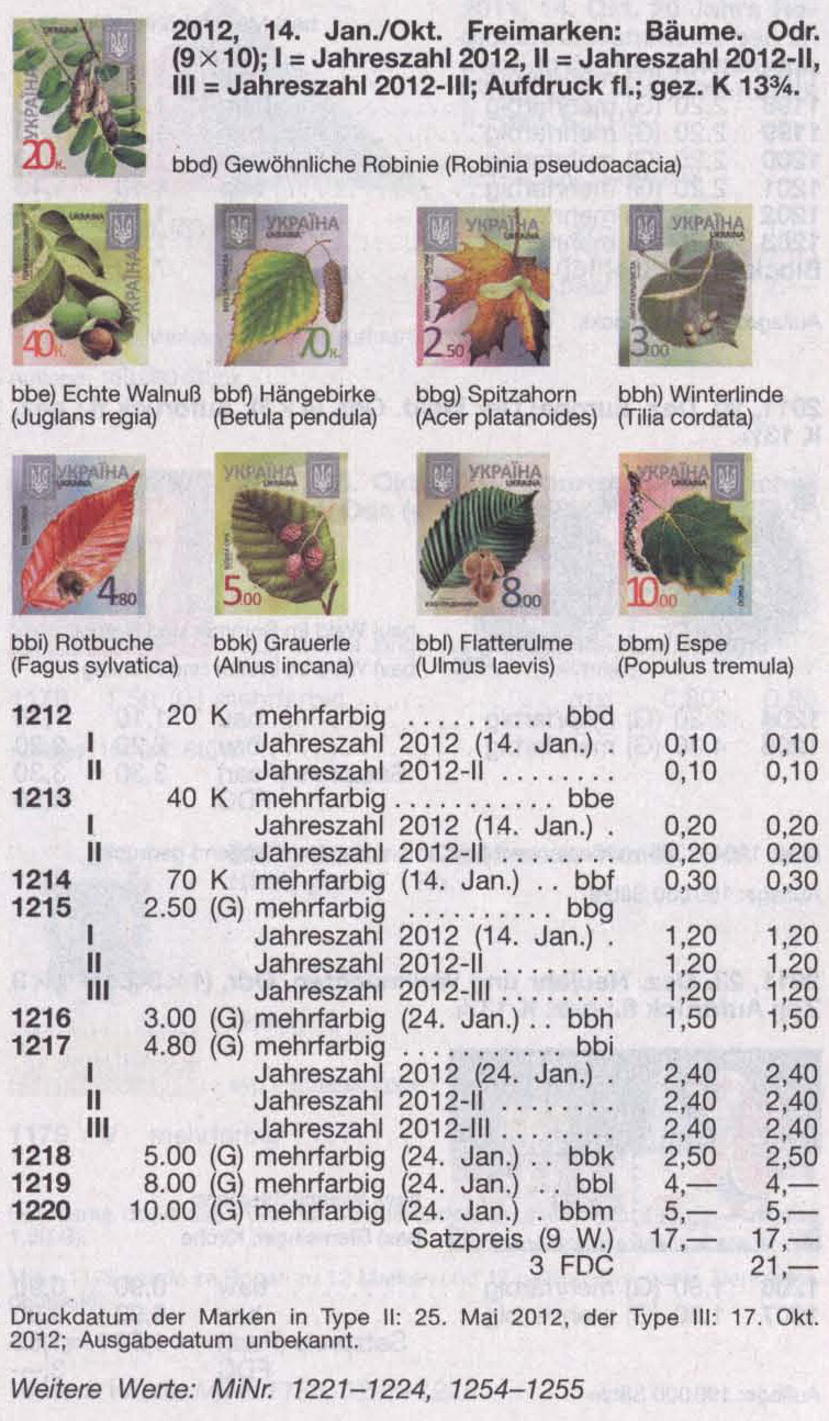 N1213 каталог 2012 марка 8-ой Стандарт  0,40 Орех Флора