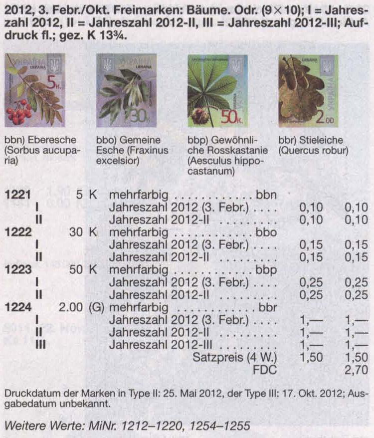N1224 каталог 2012 марка 8-ой Стандарт  2,00 Дуб Флора