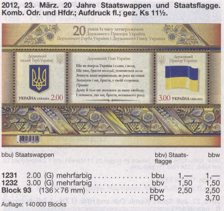 Michel 1231-1232 (block93) Ukraine Souvenir sheet 20th Anniversary of Arms and Flag of the Ukraine
